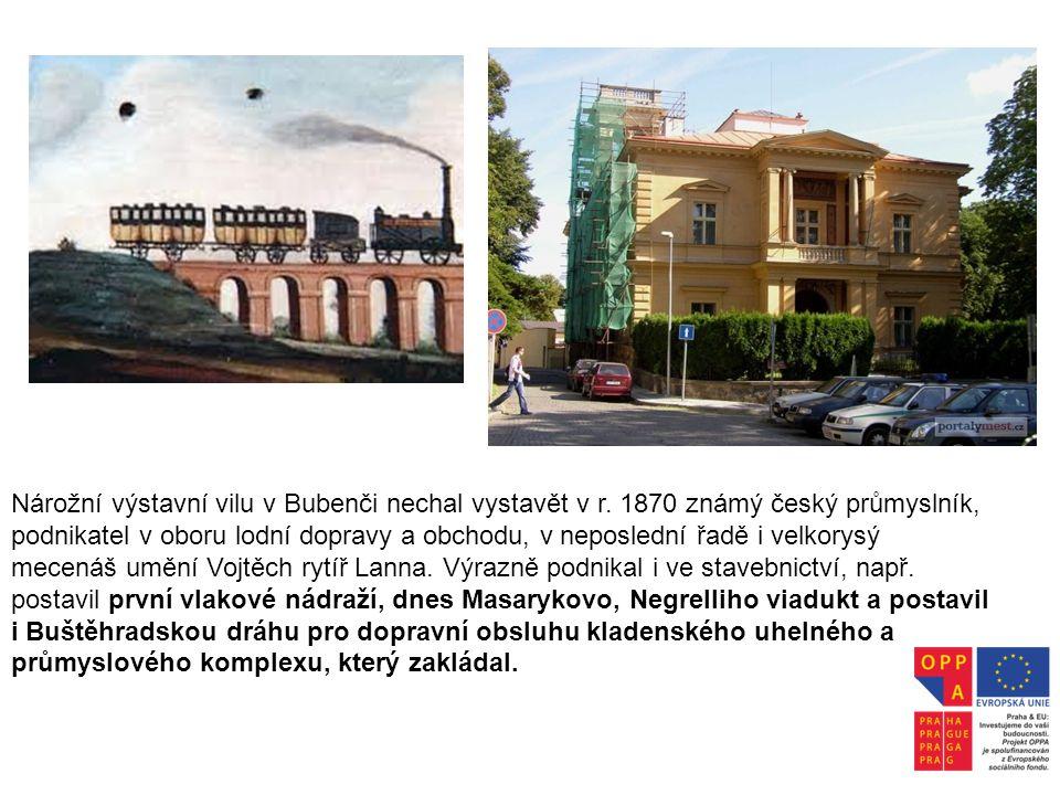 Nárožní výstavní vilu v Bubenči nechal vystavět v r