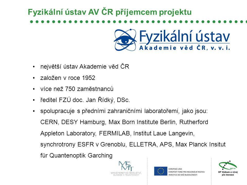 Fyzikální ústav AV ČR příjemcem projektu