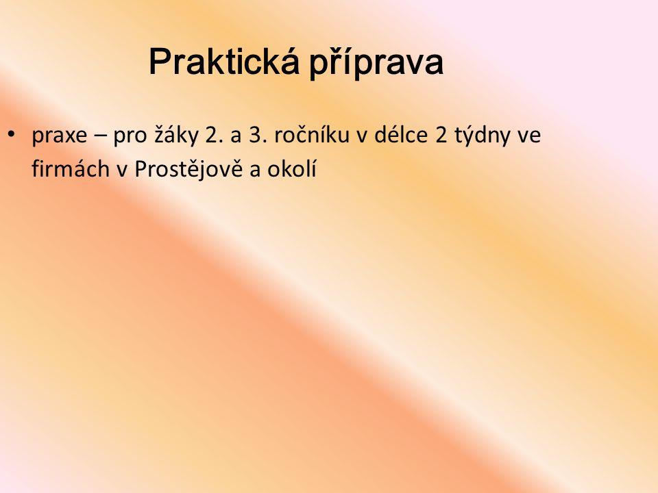 Praktická příprava praxe – pro žáky 2. a 3. ročníku v délce 2 týdny ve firmách v Prostějově a okolí