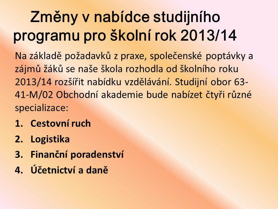 Změny v nabídce studijního programu pro školní rok 2013/14
