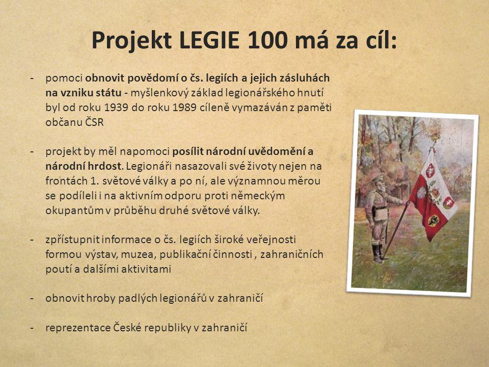 Projekt LEGIE 100 má za cíl: