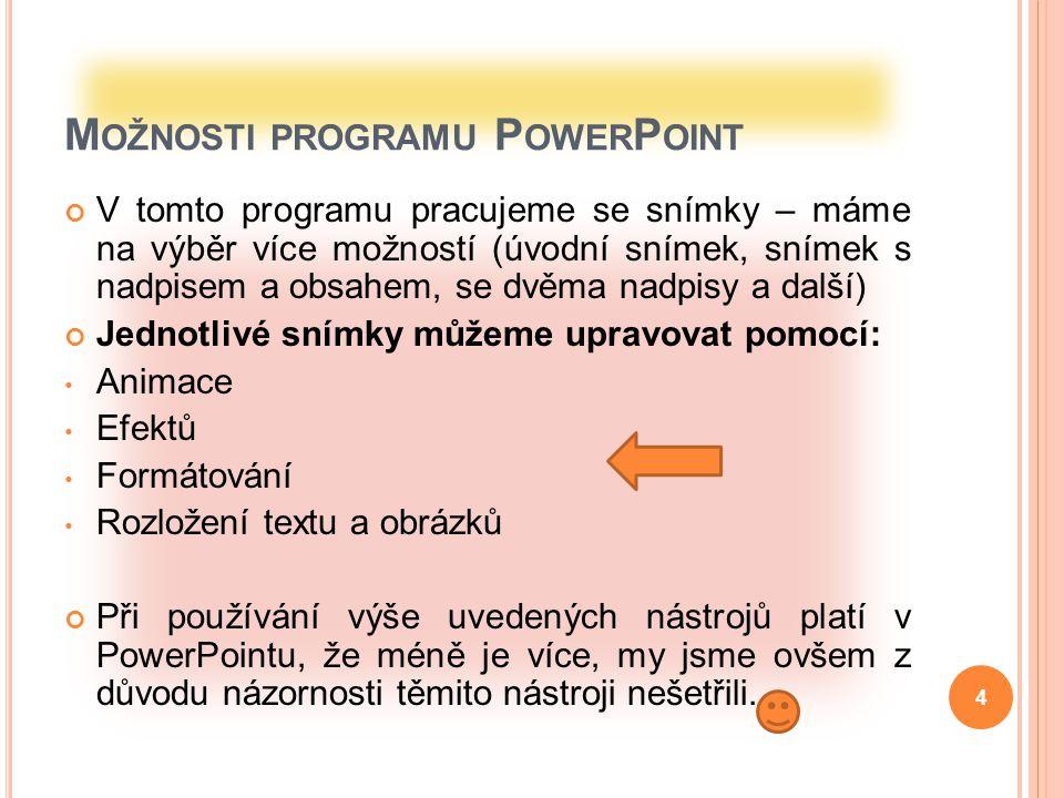 Možnosti programu PowerPoint