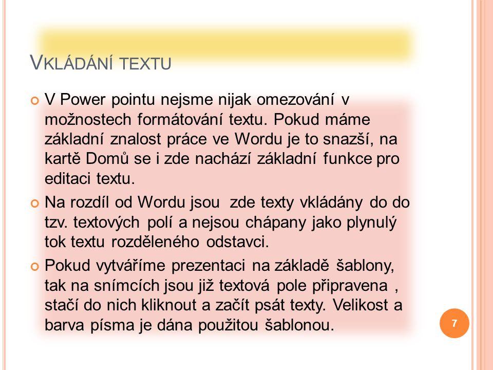 Vkládání textu