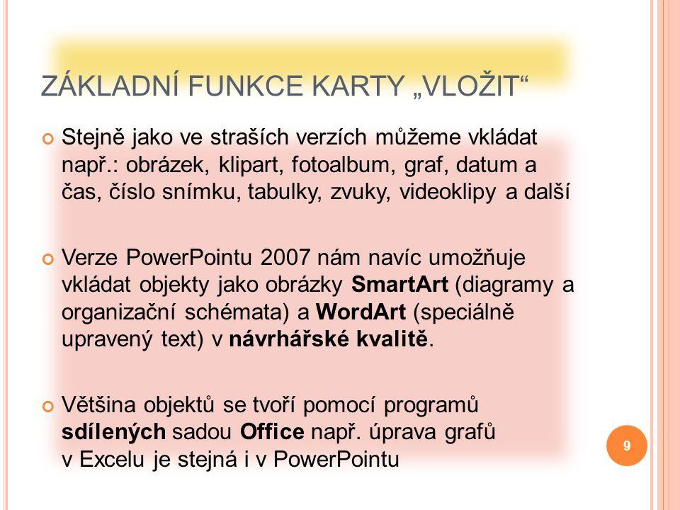 """ZÁKLADNÍ FUNKCE KARTY """"VLOŽIT"""