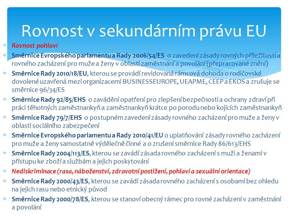 Rovnost v sekundárním právu EU