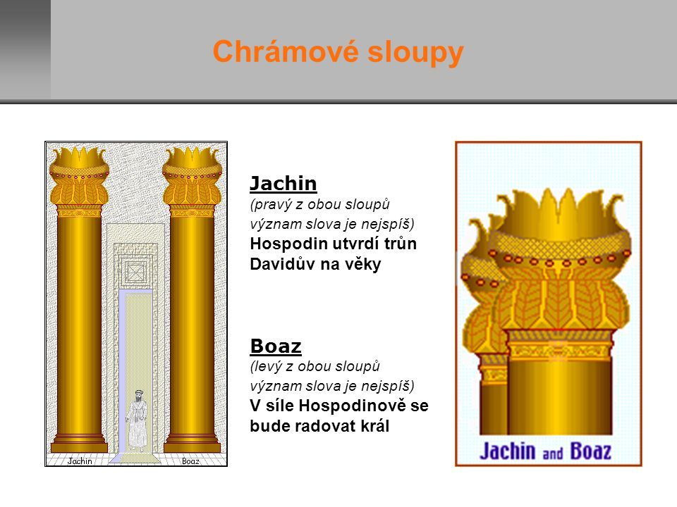 Chrámové sloupy Jachin Boaz V síle Hospodinově se bude radovat král