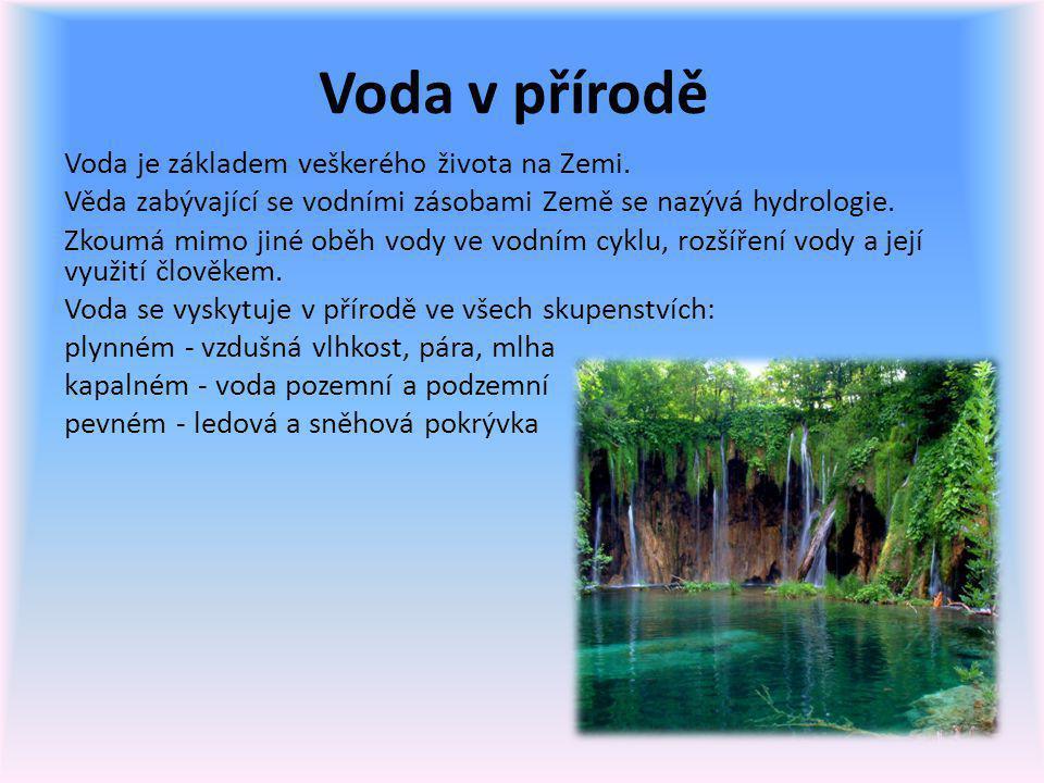 Voda v přírodě Voda je základem veškerého života na Zemi.
