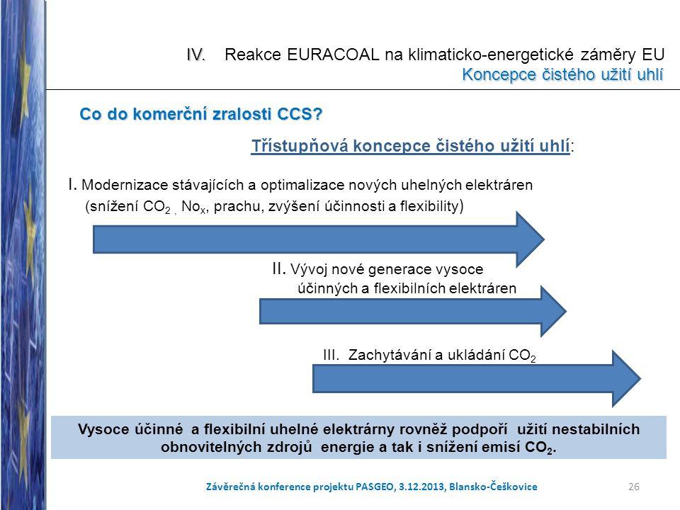 I. Modernizace stávajících a optimalizace nových uhelných elektráren