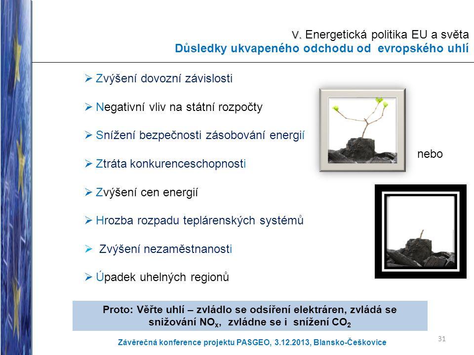V. Energetická politika EU a světa Důsledky ukvapeného odchodu od evropského uhlí