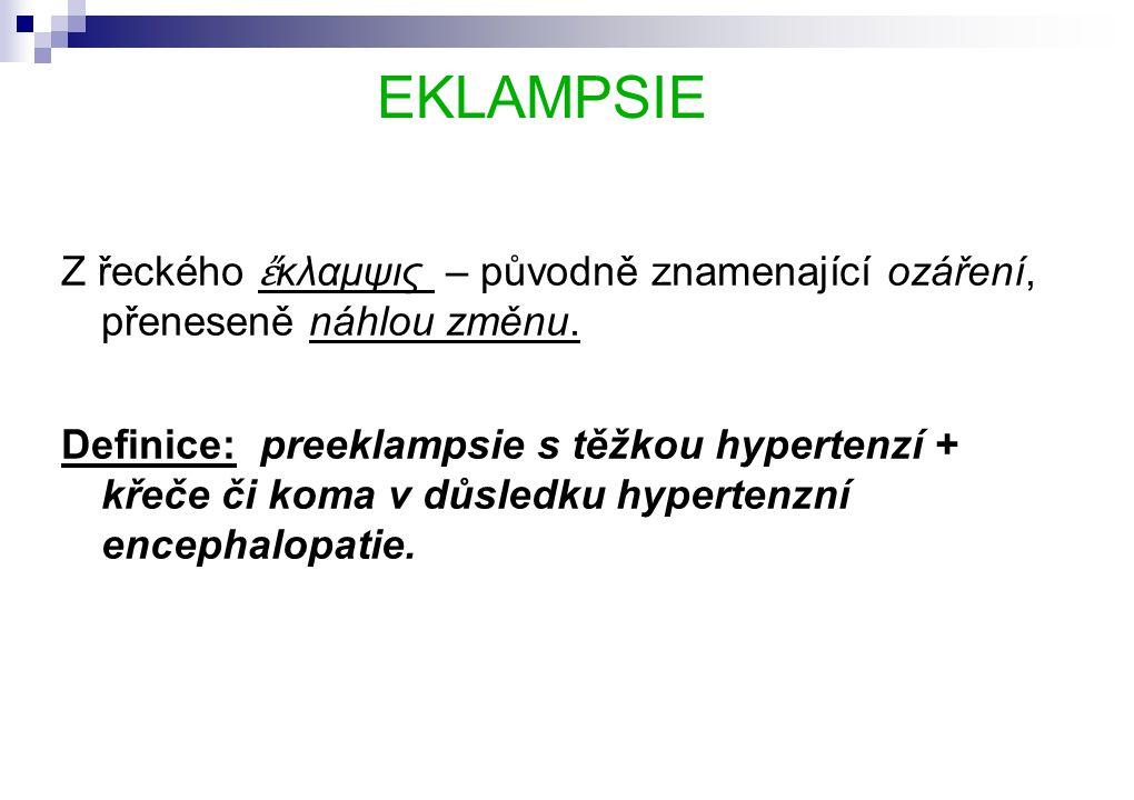EKLAMPSIE Z řeckého ἔκλαμψις – původně znamenající ozáření, přeneseně náhlou změnu.