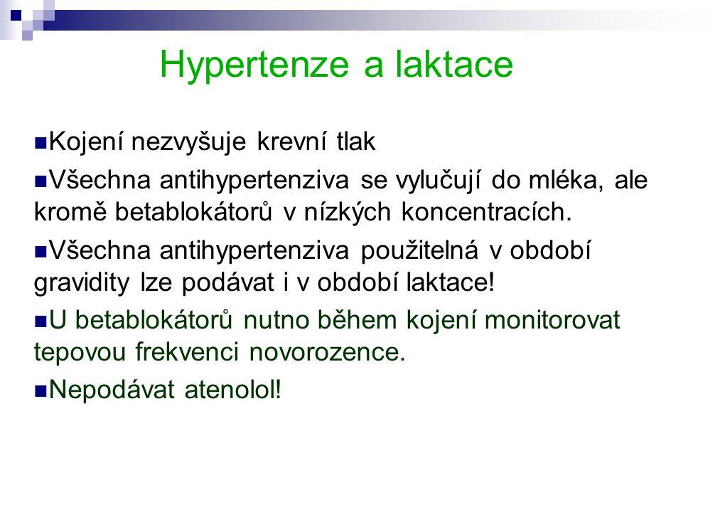 Hypertenze a laktace Kojení nezvyšuje krevní tlak