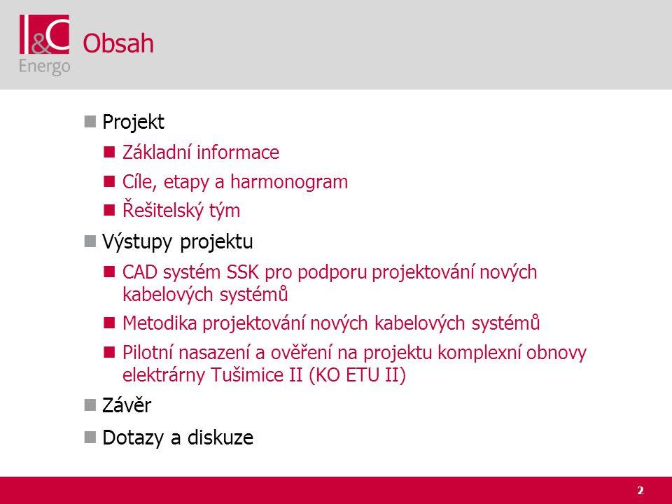 Obsah Projekt Výstupy projektu Závěr Dotazy a diskuze