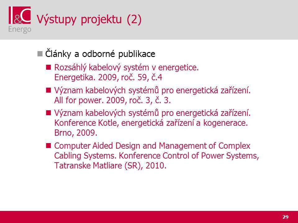 Výstupy projektu (2) Články a odborné publikace