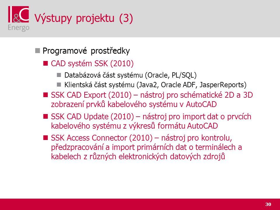 Výstupy projektu (3) Programové prostředky CAD systém SSK (2010)