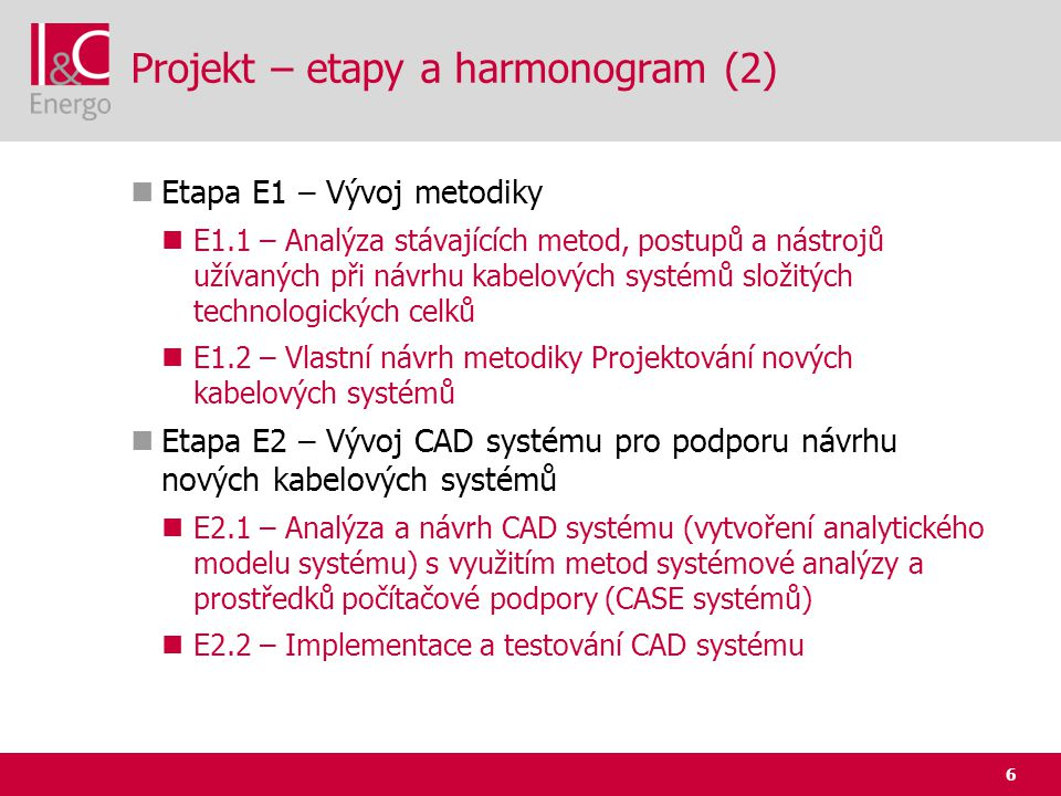 Projekt – etapy a harmonogram (2)