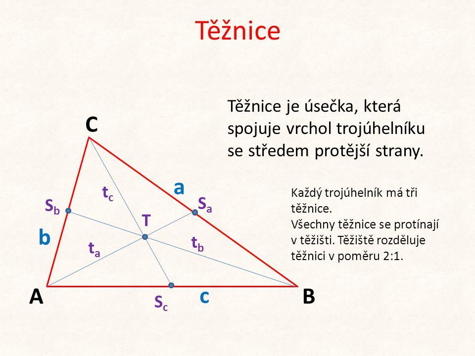 Těžnice Těžnice je úsečka, která spojuje vrchol trojúhelníku se středem protější strany. C. a. tc.