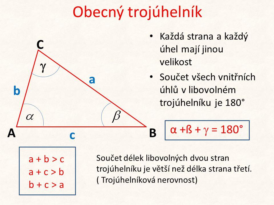 Obecný trojúhelník b c A C B a  α +ß +  = 180°
