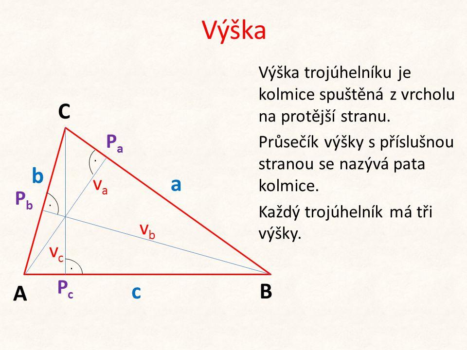 Výška C b a A c B Pa va Pb vb vc Pc