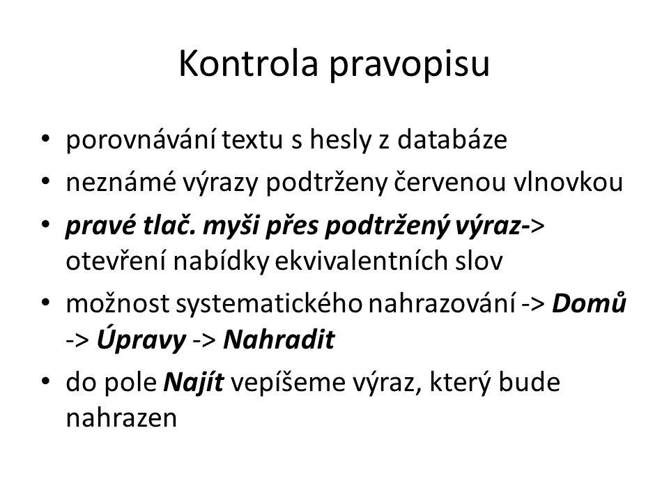 Kontrola pravopisu porovnávání textu s hesly z databáze