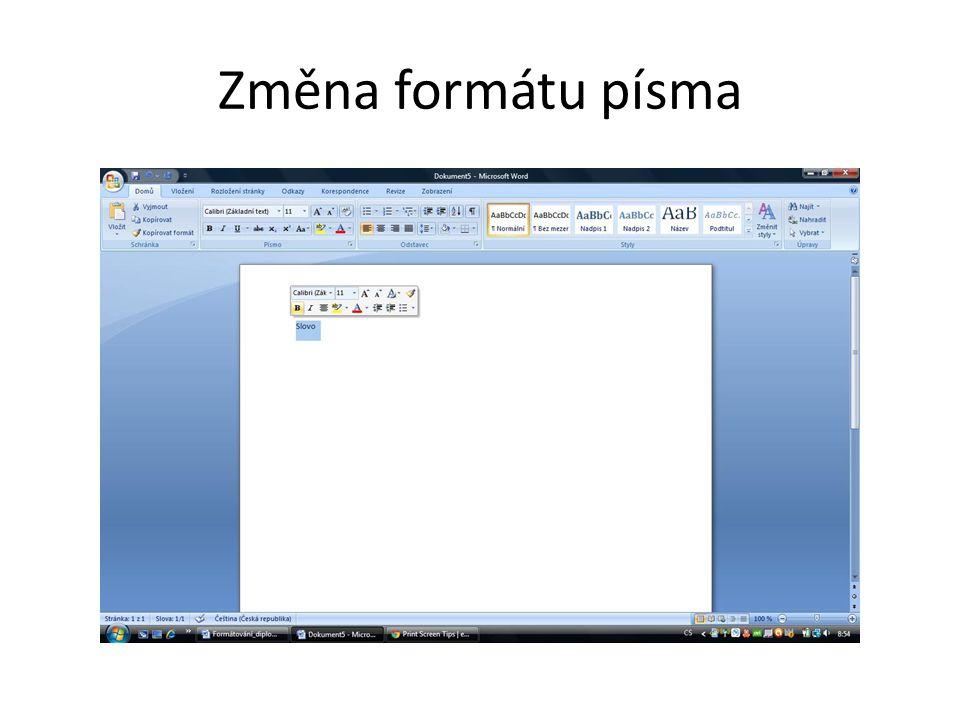 Změna formátu písma