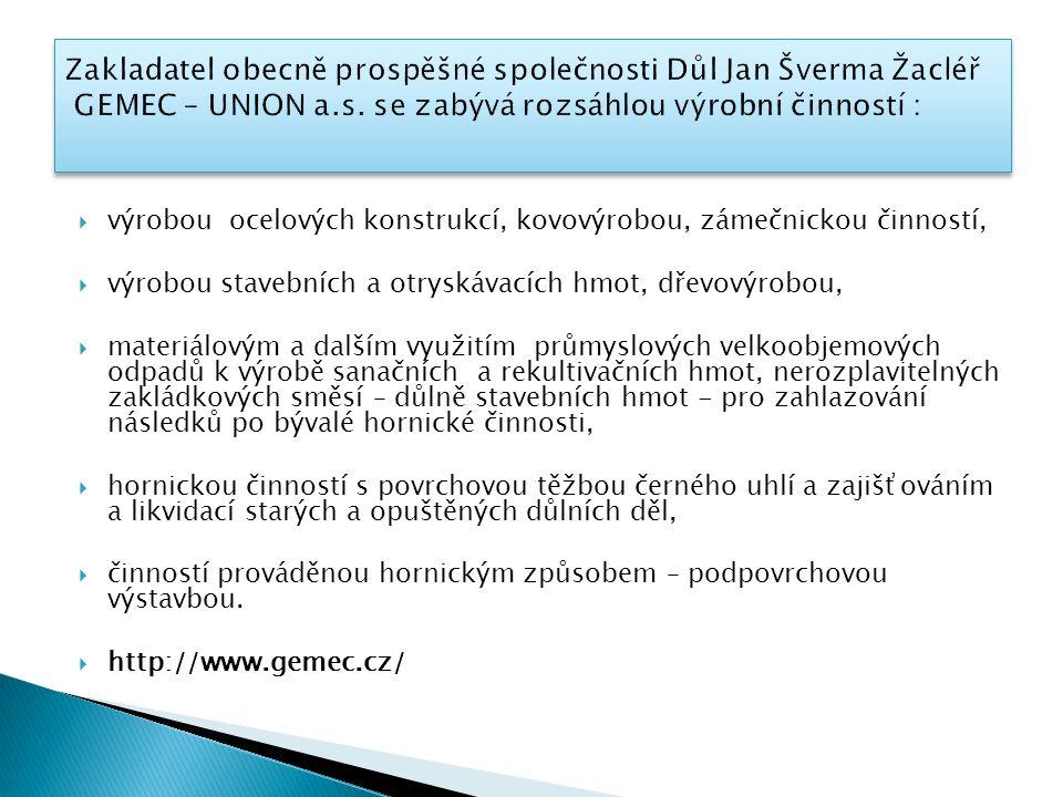 Zakladatel obecně prospěšné společnosti Důl Jan Šverma Žacléř GEMEC – UNION a.s. se zabývá rozsáhlou výrobní činností :
