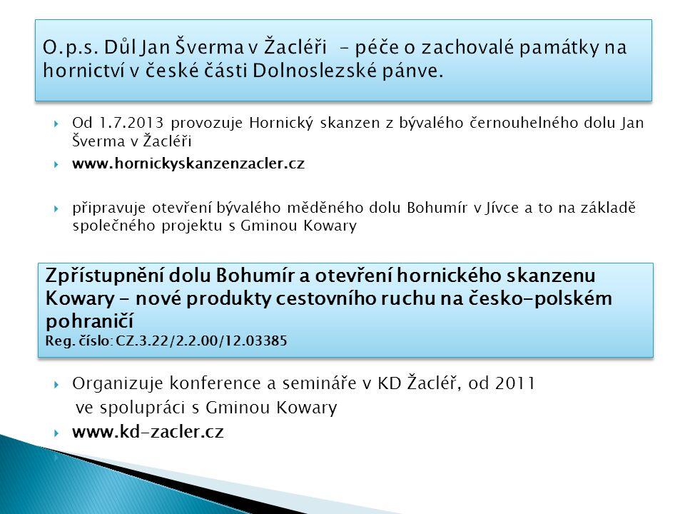 O.p.s. Důl Jan Šverma v Žacléři - péče o zachovalé památky na hornictví v české části Dolnoslezské pánve.