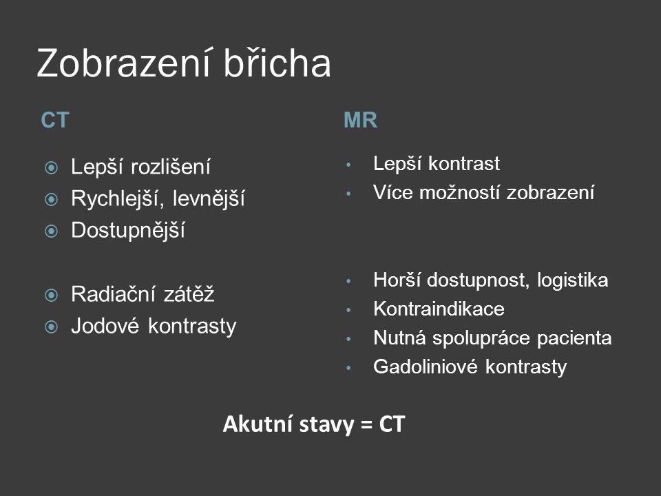 Zobrazení břicha Akutní stavy = CT CT MR Lepší rozlišení