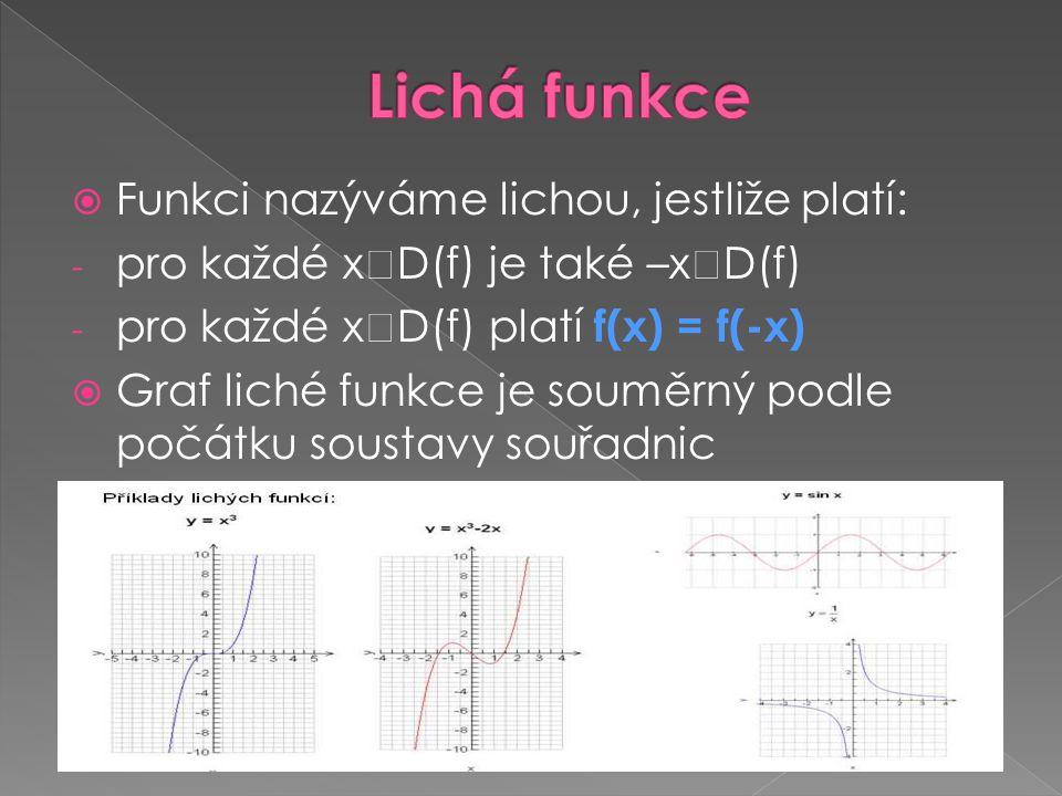 Lichá funkce Funkci nazýváme lichou, jestliže platí: