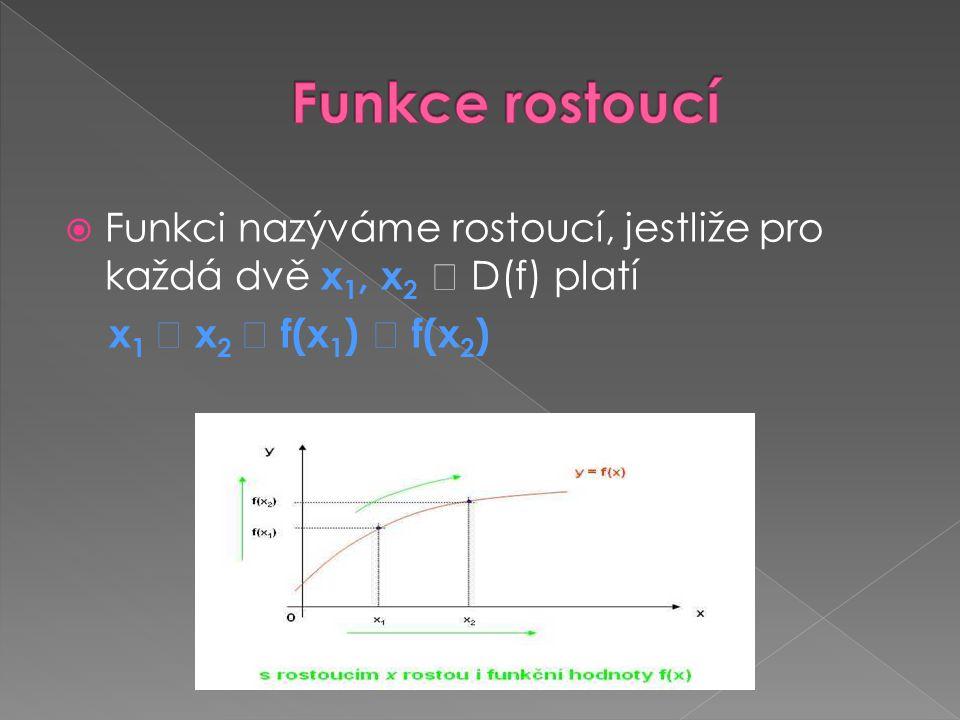 Funkce rostoucí Funkci nazýváme rostoucí, jestliže pro každá dvě x1, x2  D(f) platí.
