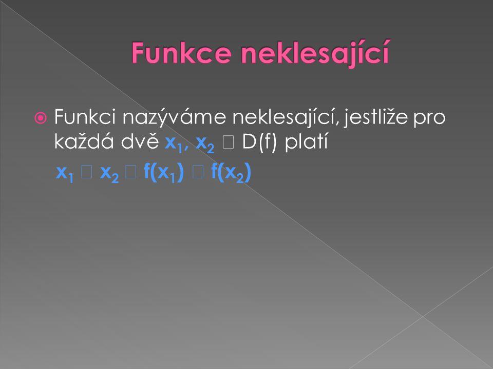 Funkce neklesající Funkci nazýváme neklesající, jestliže pro každá dvě x1, x2  D(f) platí.