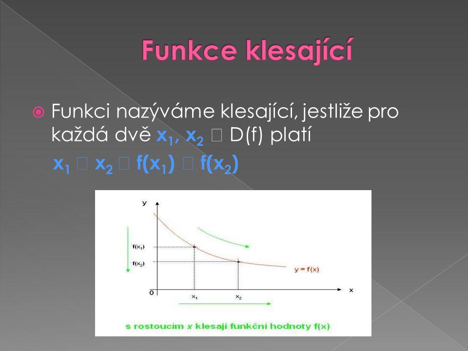 Funkce klesající Funkci nazýváme klesající, jestliže pro každá dvě x1, x2  D(f) platí.