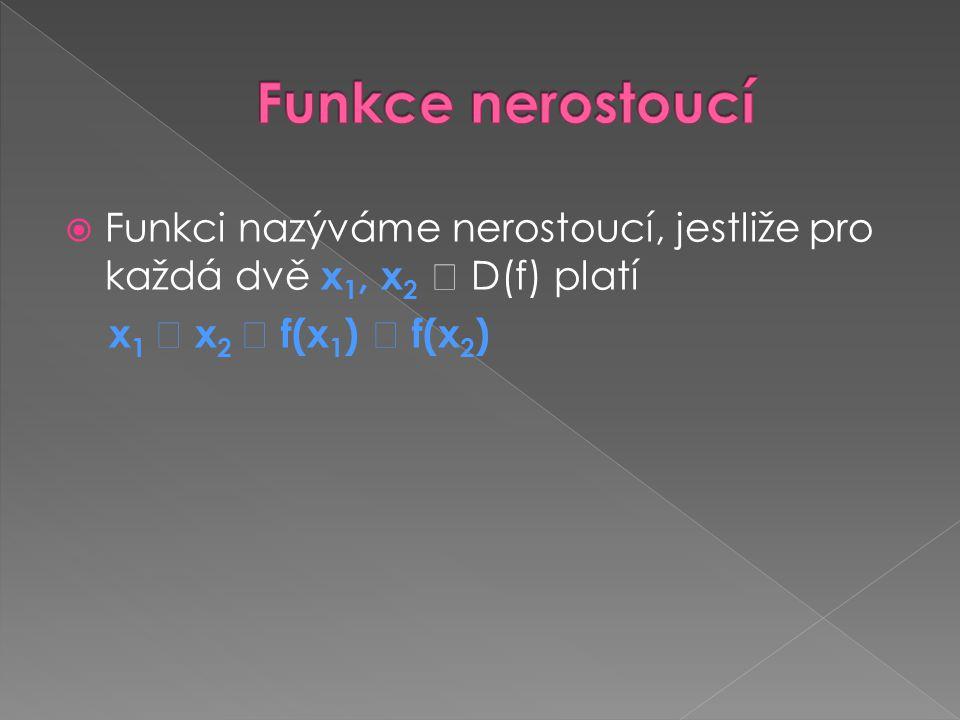 Funkce nerostoucí Funkci nazýváme nerostoucí, jestliže pro každá dvě x1, x2  D(f) platí.