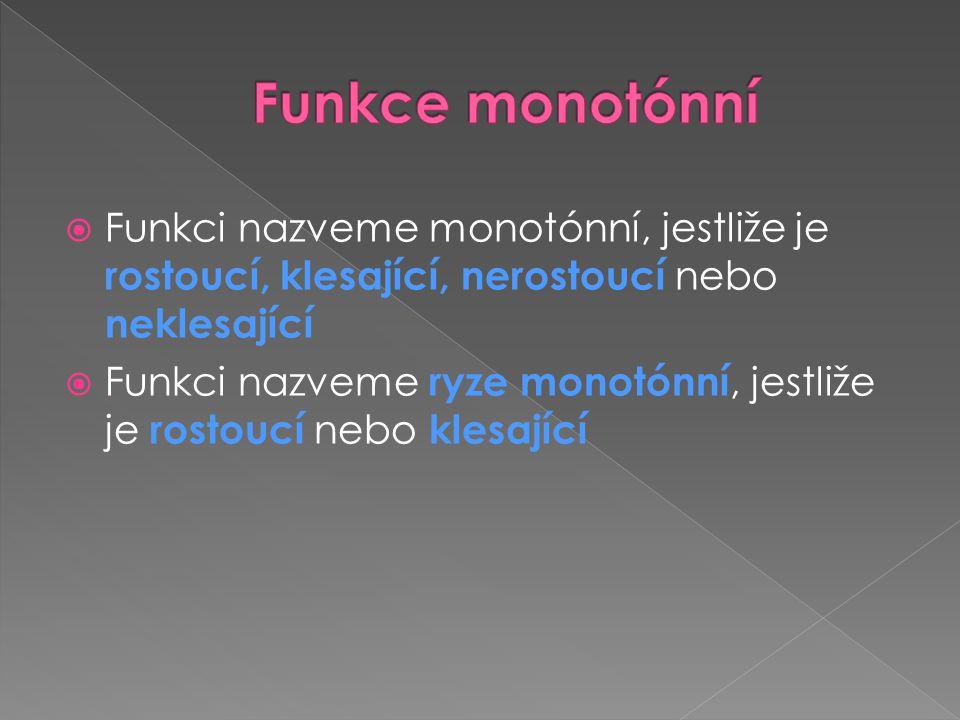 Funkce monotónní Funkci nazveme monotónní, jestliže je rostoucí, klesající, nerostoucí nebo neklesající.
