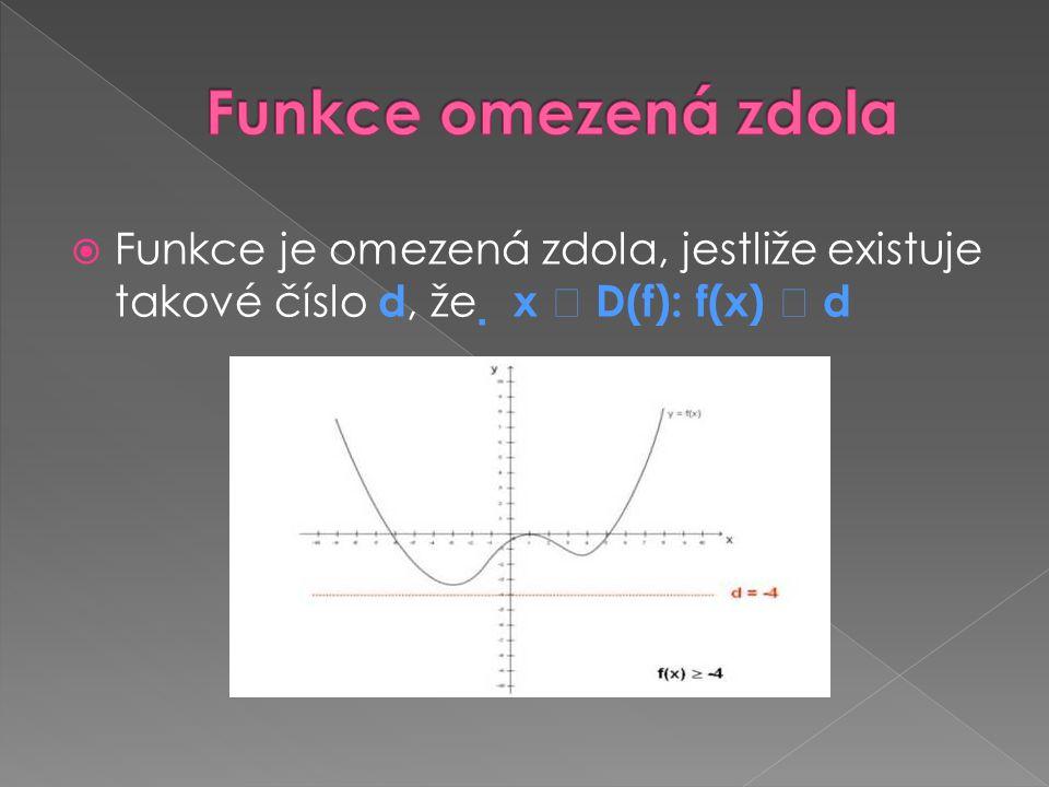 Funkce omezená zdola Funkce je omezená zdola, jestliže existuje takové číslo d, že  x  D(f): f(x)  d.
