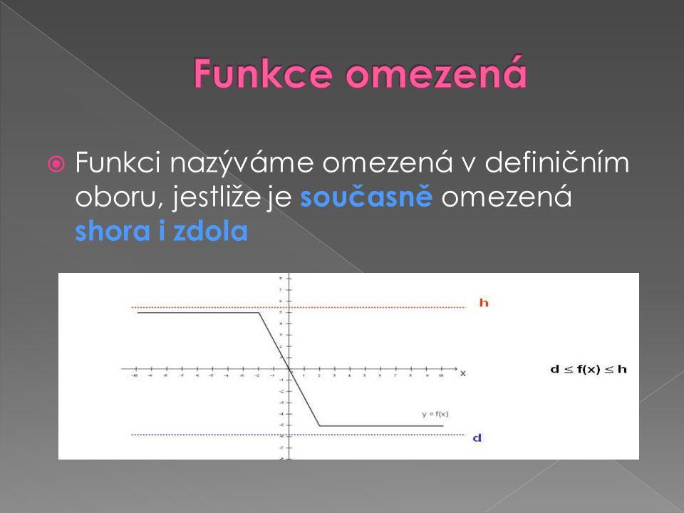 Funkce omezená Funkci nazýváme omezená v definičním oboru, jestliže je současně omezená shora i zdola.