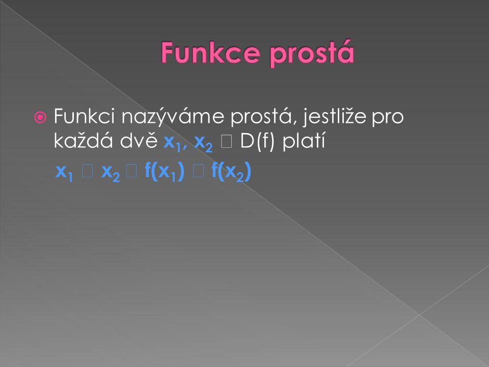Funkce prostá Funkci nazýváme prostá, jestliže pro každá dvě x1, x2  D(f) platí.