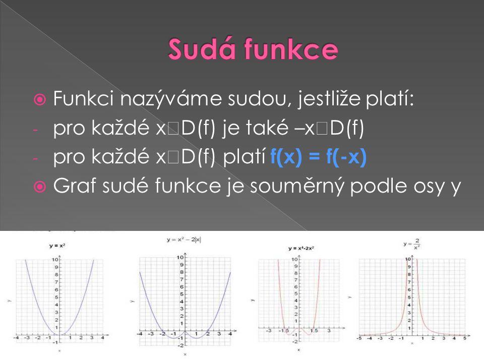 Sudá funkce Funkci nazýváme sudou, jestliže platí: