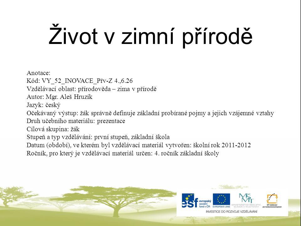Život v zimní přírodě Anotace: Kód: VY_52_INOVACE_Přv-Z 4.,6.26
