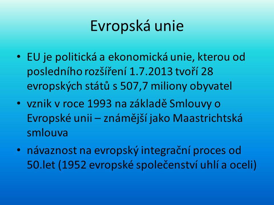 Evropská unie EU je politická a ekonomická unie, kterou od posledního rozšíření 1.7.2013 tvoří 28 evropských států s 507,7 miliony obyvatel.
