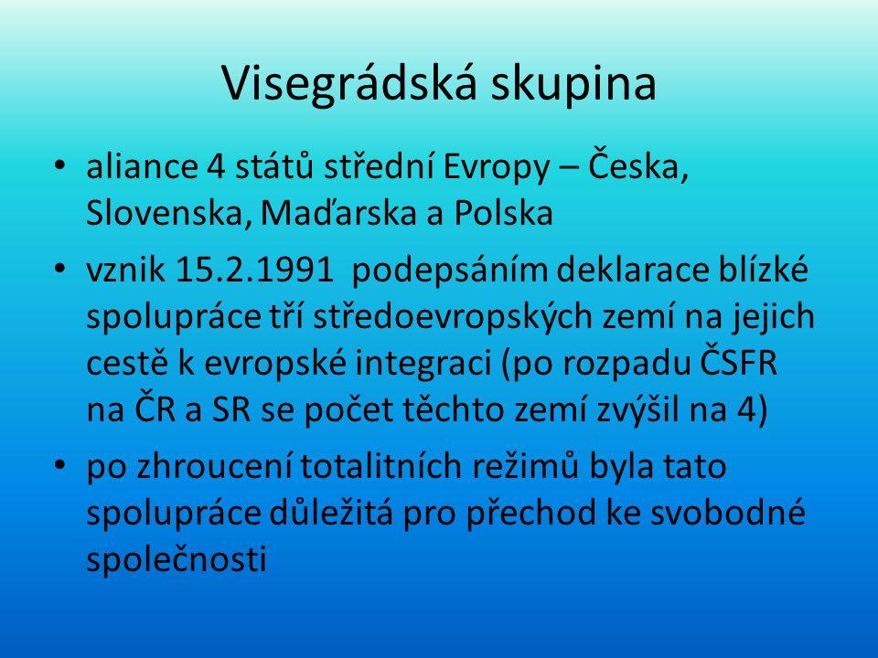 Visegrádská skupina aliance 4 států střední Evropy – Česka, Slovenska, Maďarska a Polska.
