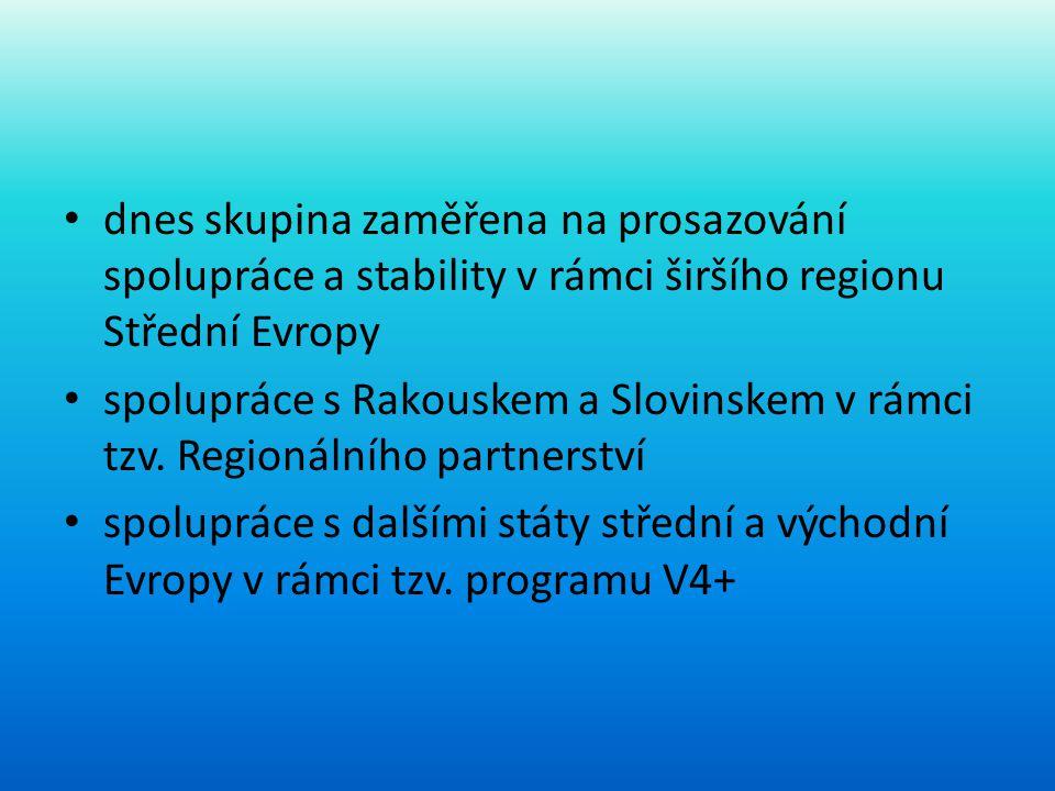 dnes skupina zaměřena na prosazování spolupráce a stability v rámci širšího regionu Střední Evropy