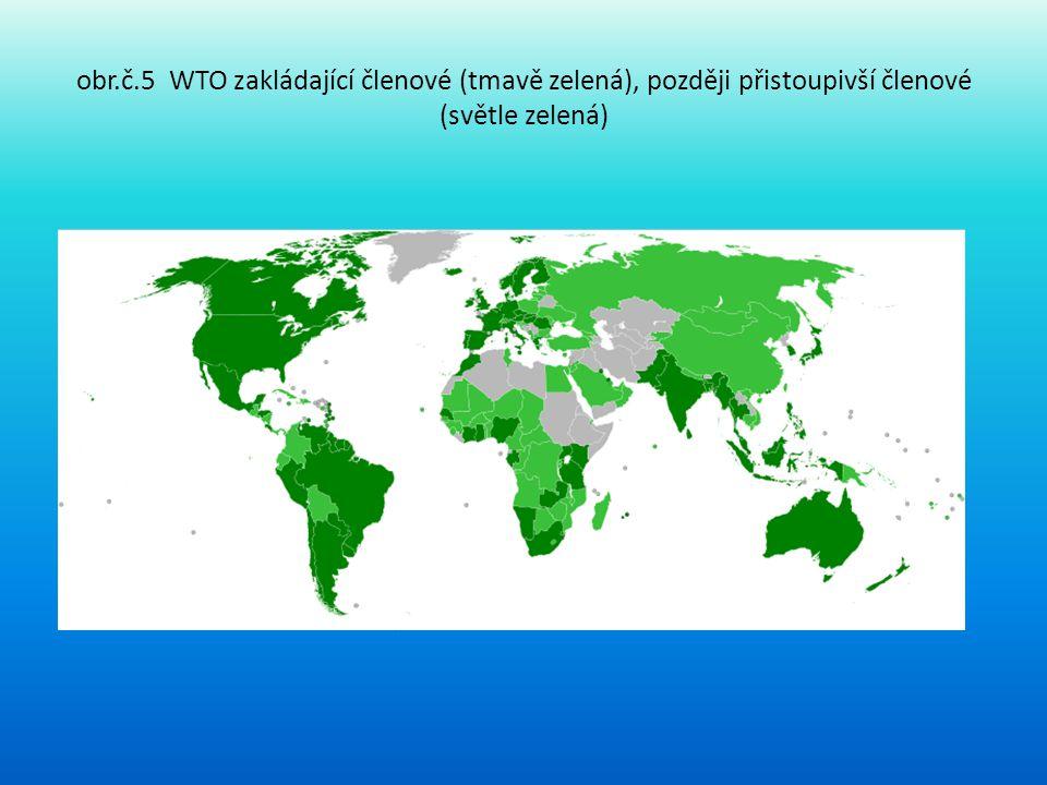 obr.č.5 WTO zakládající členové (tmavě zelená), později přistoupivší členové (světle zelená)