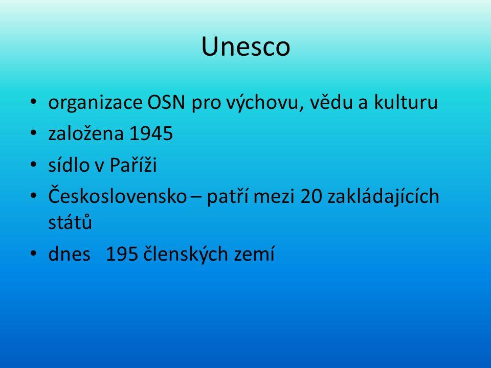 Unesco organizace OSN pro výchovu, vědu a kulturu založena 1945