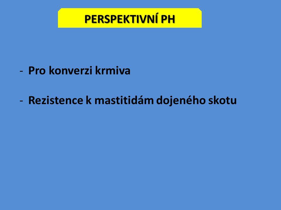 Perspektivní PH Pro konverzi krmiva Rezistence k mastitidám dojeného skotu