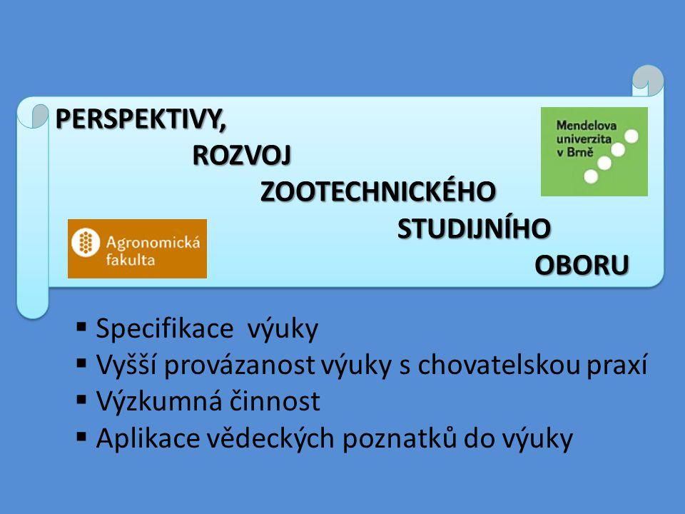Perspektivy, rozvoj. zootechnického studijního oboru. Specifikace výuky. Vyšší provázanost výuky s chovatelskou praxí.
