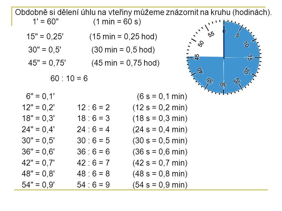 Obdobně si dělení úhlu na vteřiny můžeme znázornit na kruhu (hodinách)