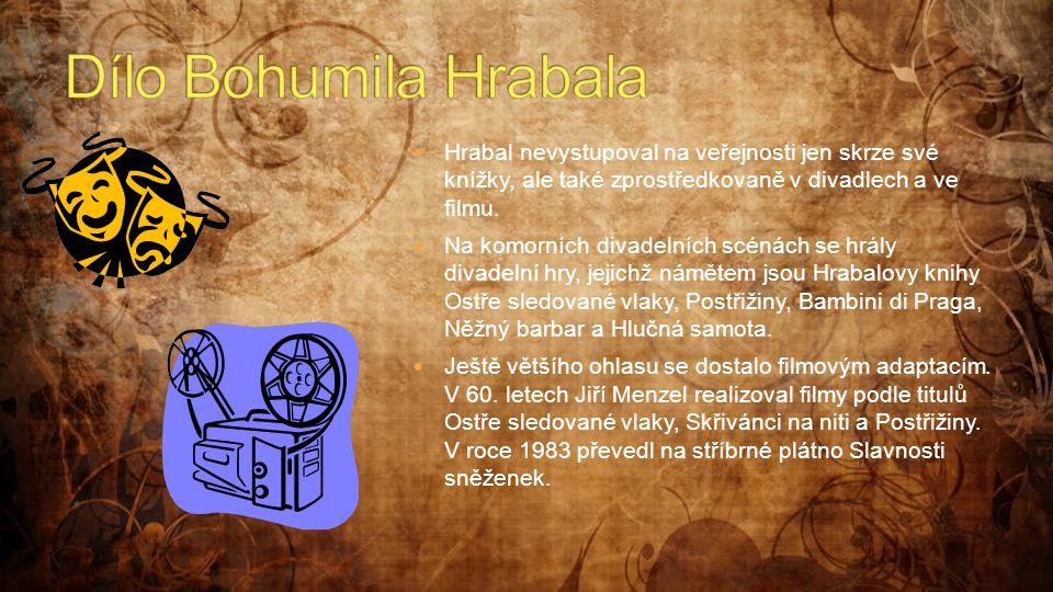 Dílo Bohumila Hrabala Hrabal nevystupoval na veřejnosti jen skrze své knížky, ale také zprostředkovaně v divadlech a ve filmu.