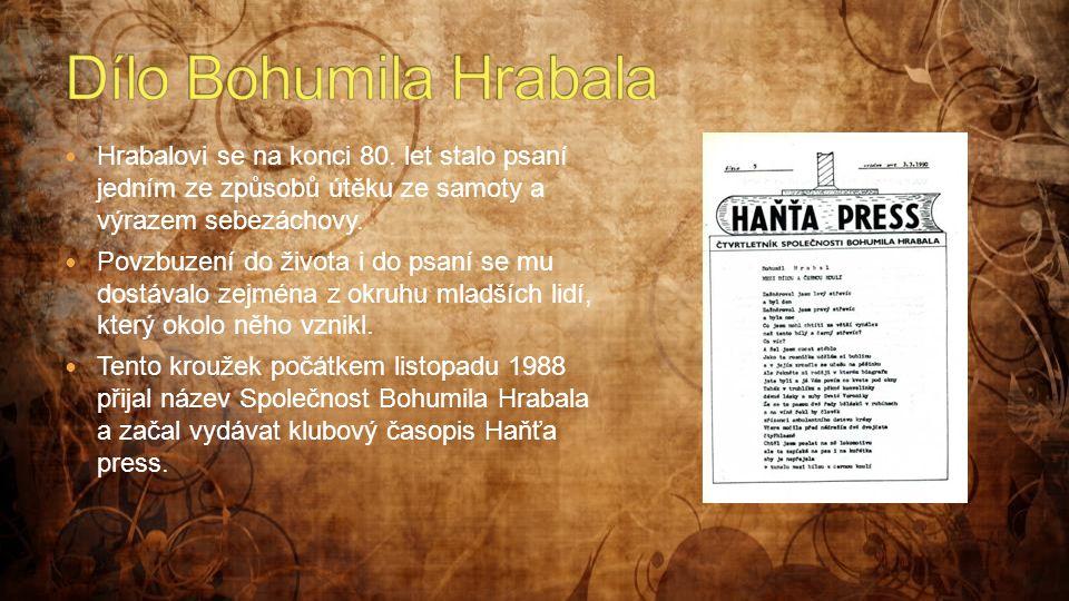 Dílo Bohumila Hrabala Hrabalovi se na konci 80. let stalo psaní jedním ze způsobů útěku ze samoty a výrazem sebezáchovy.