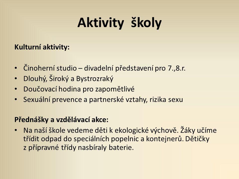 Aktivity školy Kulturní aktivity: