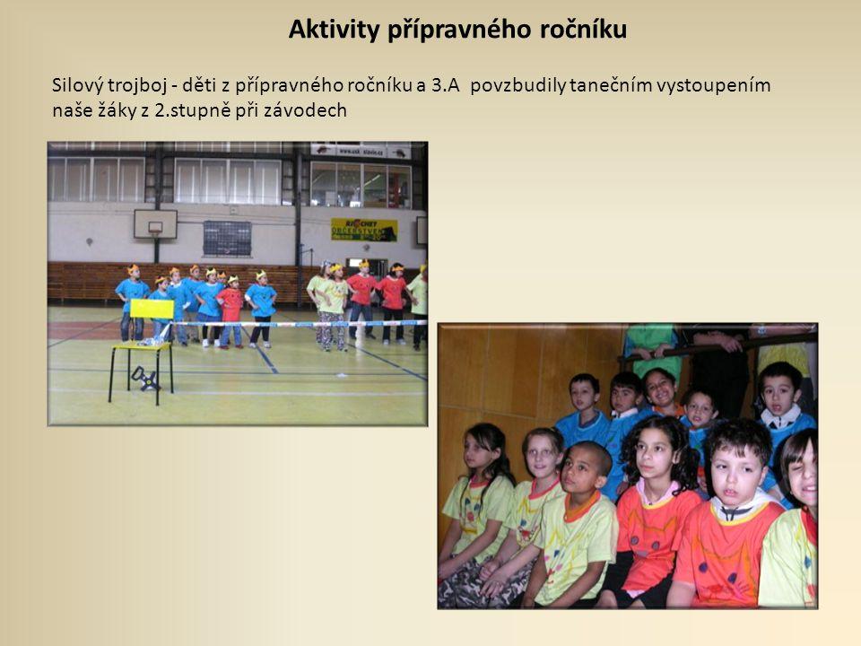 Aktivity přípravného ročníku Silový trojboj - děti z přípravného ročníku a 3.A povzbudily tanečním vystoupením naše žáky z 2.stupně při závodech